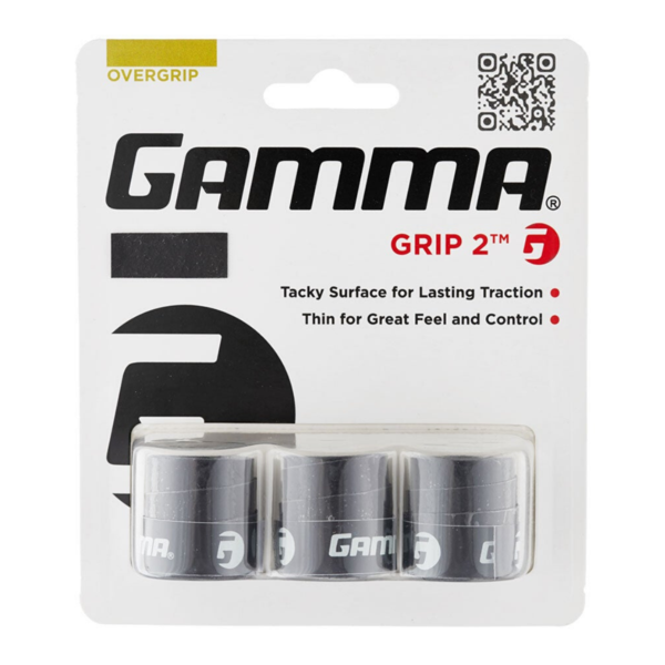 3 Pack of GAMMA Grip 2 Ultra Thin Overgrip in packaging.