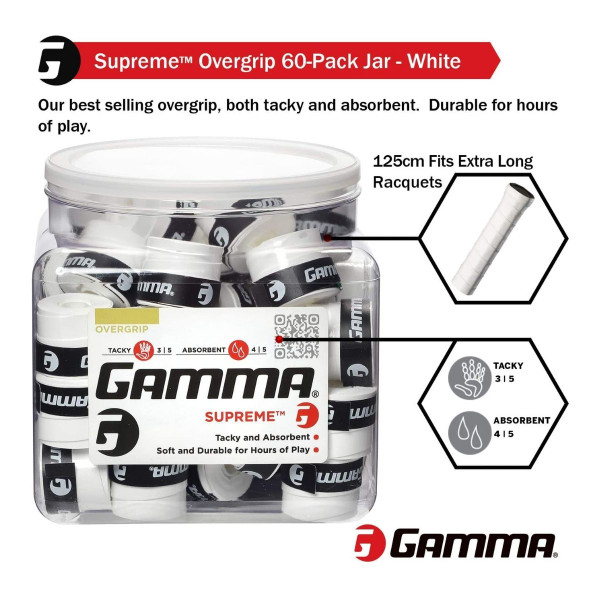 Illustrating that GAMMA Supreme Grip fits extra-long handles and has excellent tackiness and absorbency.