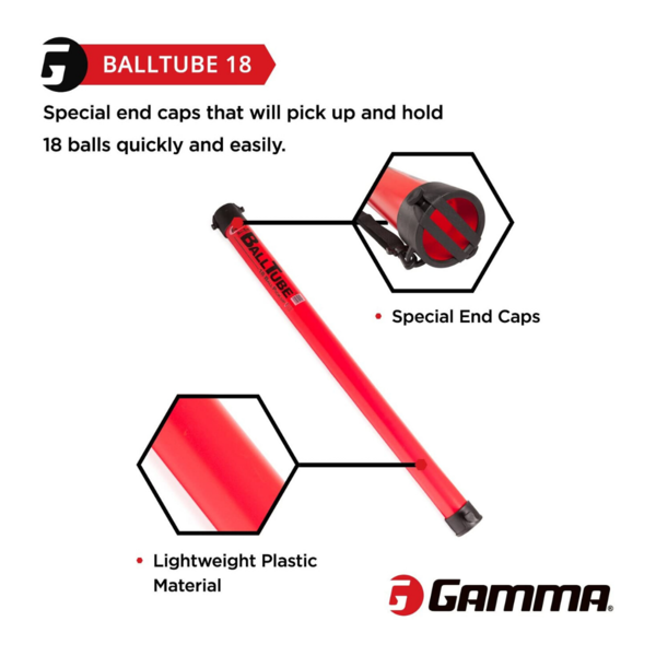 A diagram of the GAMMA Ball Tube that shows a full image of the ball tube. There is also octagonal images highlighting the special End Caps and Lightweight Plastic Material.