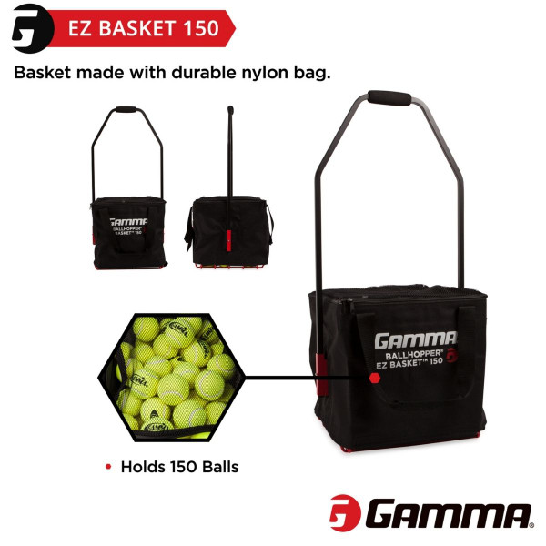 The EZ Basket 150 holds up to 150 tennis balls.