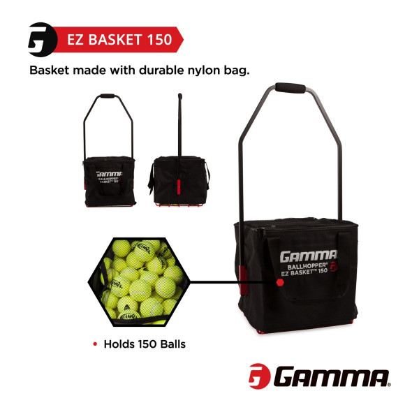 EZ Travel Cart 150 and EZ Basket 150 combo holds up to 150 tennis balls.