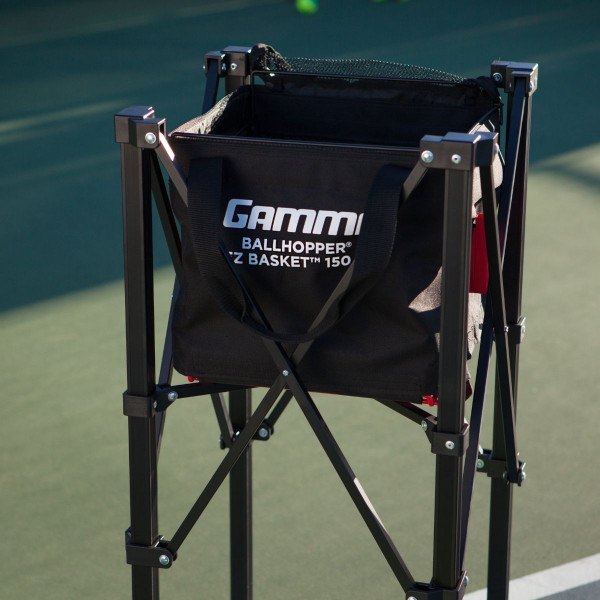EZ Travel Cart 150 and EZ Basket 150 combo on a tennis court.