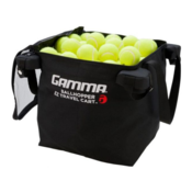 The EZ TRAVEL CART™ BAG is unzipped and showing tennis balls pilled up to the top rim of the bag.