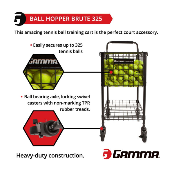 Graphic highlighting that the GAMMA Brute 325 Teaching Cart holds up to 325 tennis balls.