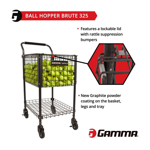 Graphic illustrating that the GAMMA Brute 325 Teaching Cart has a lockable lid and a graphite powder coating.