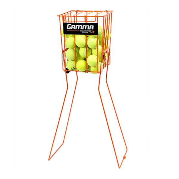 Orange Ball Hopper Hi-Rise 75 standing upright filled with tennis balls.