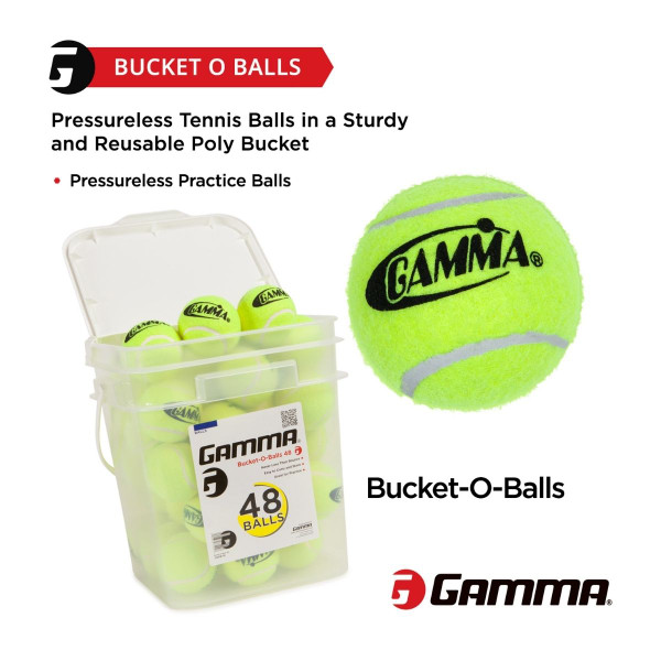 Highlights that the GAMMA Bucket-O-Balls Includes Pressureless Balls in a Sturdy, Reusable Poly Bucket.