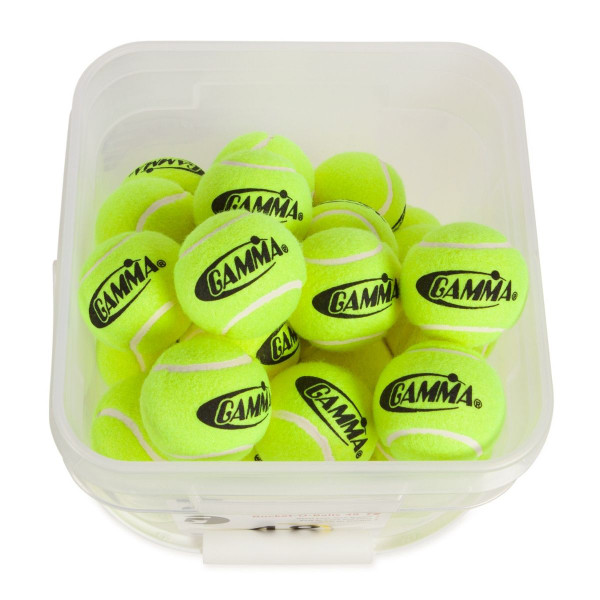 Looking down into a GAMMA Bucket-O-Balls. The top lid is open and the bucket is filled with pressureless tennis balls.