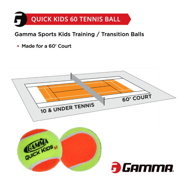 GAMMA Quick Kids 60 Ball is made for a 60 foot tennis court.