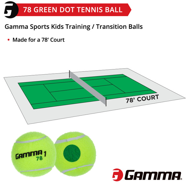78 Green Dot Balls with court diagram.