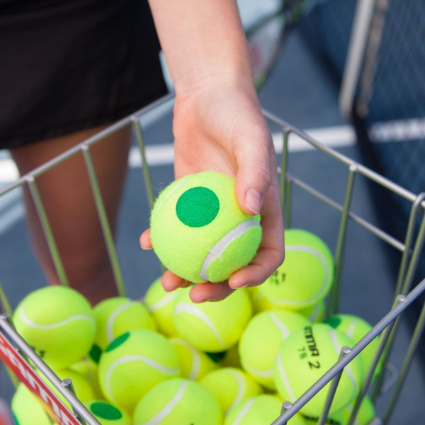 Person holding a GAMMA Green Dot Tennis Ball over a ball hopper basket full of GAMMA Green Dot Tennis Balls.