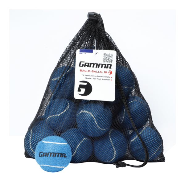 18 Blue Pressureless Tennis Balls in a mesh, open-netted string bag.