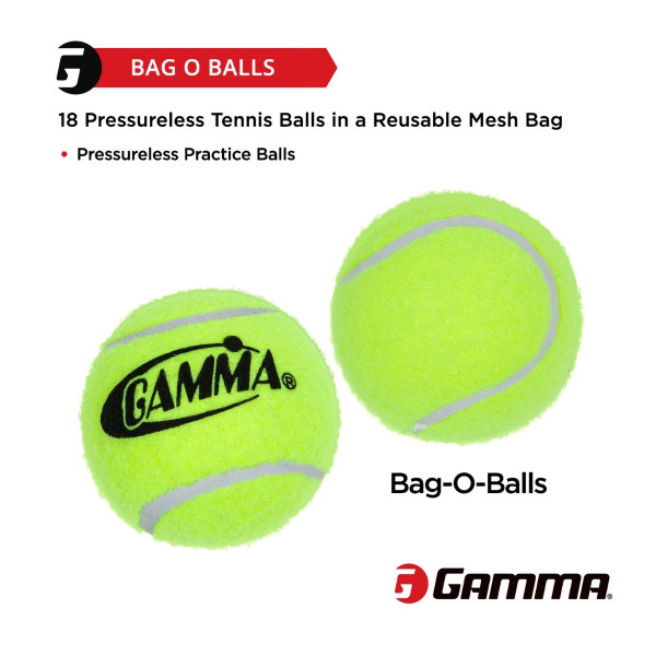 Graphic Highlighting that this item includes 18 Pressureless Tennis Balls that come in a Reusable Mesh Bag.