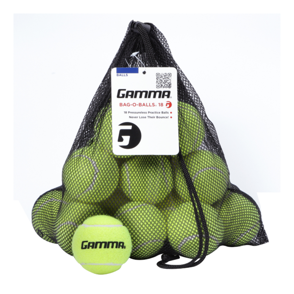 18 Yellow Pressureless Tennis Balls in a mesh, open-netted string bag.