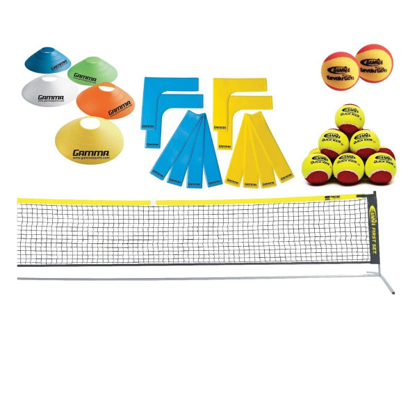 GAMMA First Set Kit: Net, 12 Quick Kids 36 Balls, 2 Revolution Foam Balls, Set of Disc Cones and Court Marker Lines