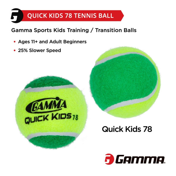 GAMMA Quick Kids 78 Tennis Ball has 25% Slower Speed and is for Ages 11 & Older and Adult Beginners