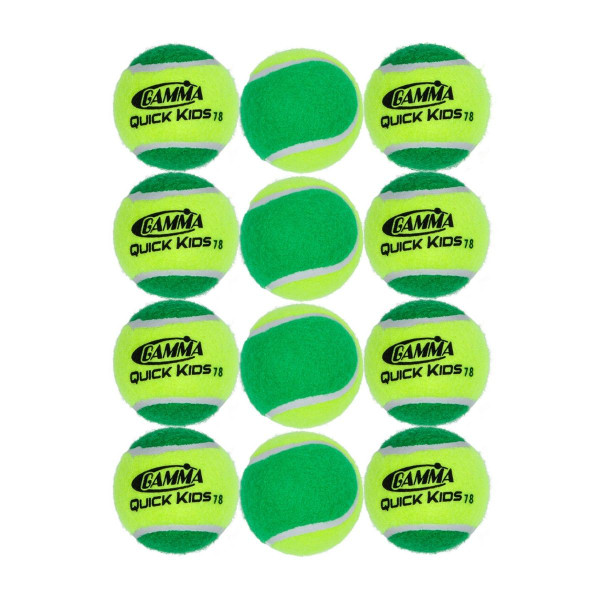 Twelve GAMMA Quick Kids 78 Tennis Balls