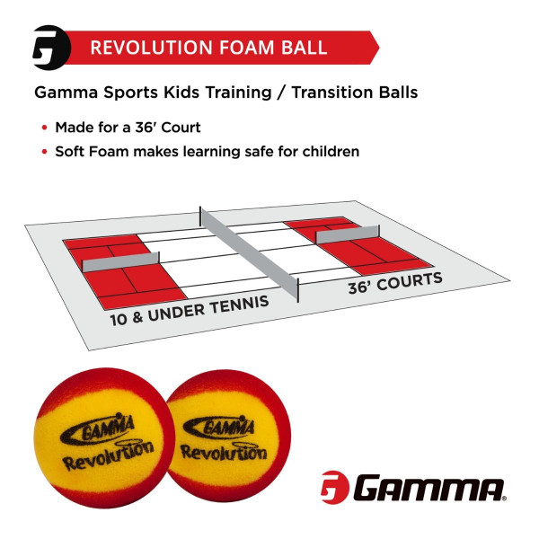 GAMMA Revolution Foam Ball is made for 10 & Under Tennis on a 36' Court