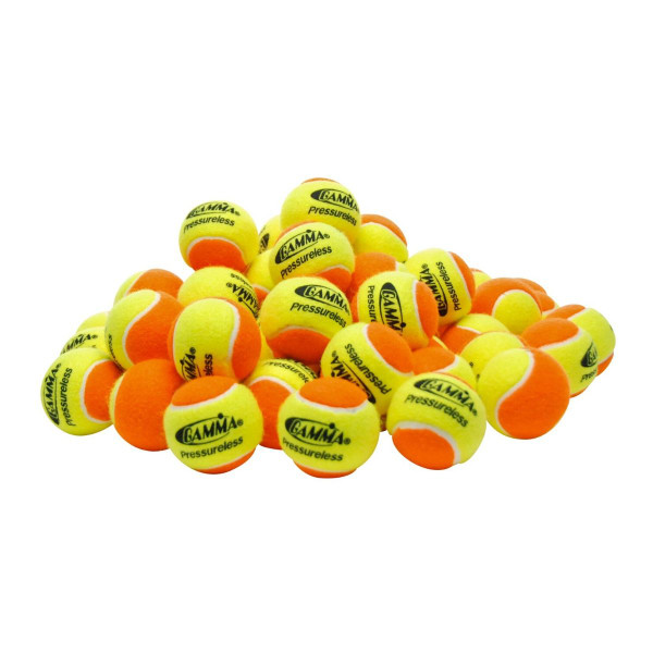 A pile of Orange & Yellow GAMMA Pressureless Practice Balls