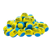 A pile of Blue & Yellow GAMMA Pressureless Practice Balls