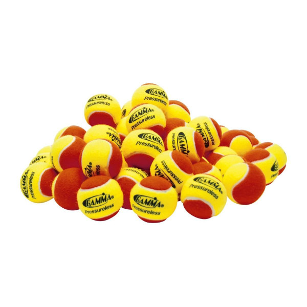 A pile of Red & Yellow GAMMA Pressureless Practice Balls