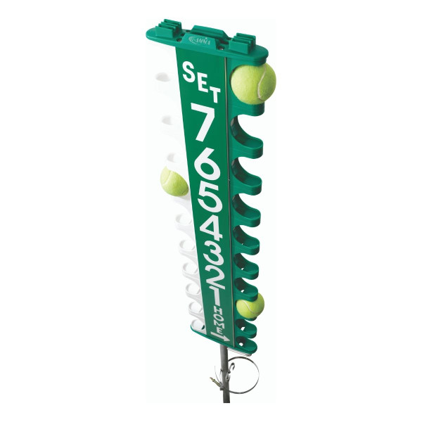 Scor-Post® Pro with tennis balls inside slots to display how it works.