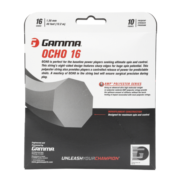 GAMMA Ocho AMP Polyester Tennis String 16G - Back of Packaging