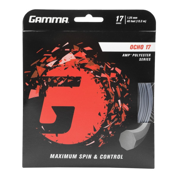 Silver GAMMA Ocho AMP Polyester Tennis String 17G - In Packaging