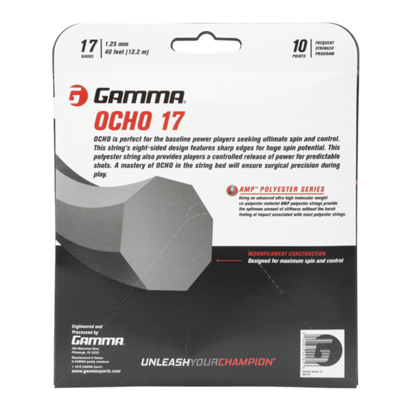 Silver GAMMA Ocho AMP Polyester Tennis String 17G - Back of Packaging