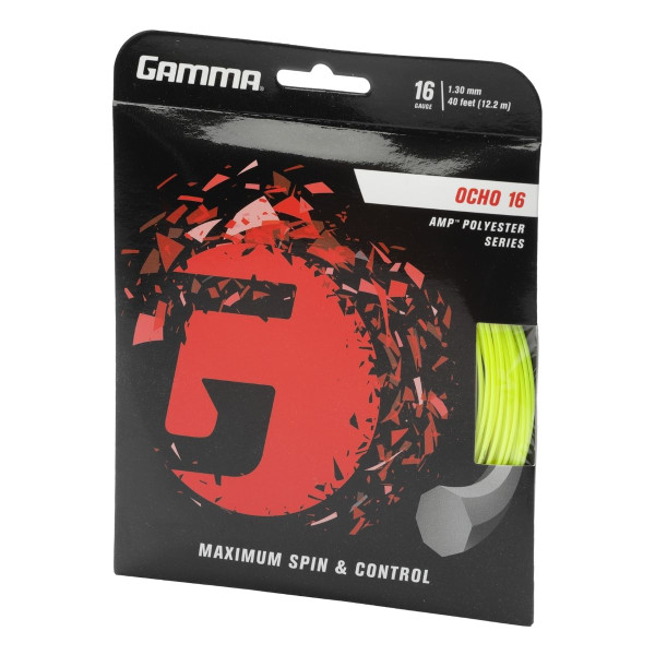Yellow GAMMA Ocho AMP Polyester Tennis String 16G - in packaging angled left
