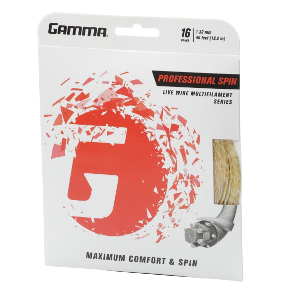 GAMMA Professional Spin Tennis String In Packaging Angled Left