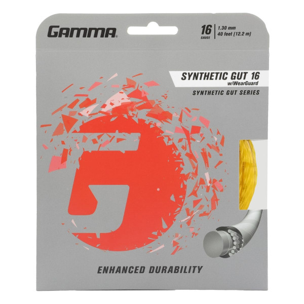 Gold Synthetic Gut Tennis String with WearGuard 16G in packaging