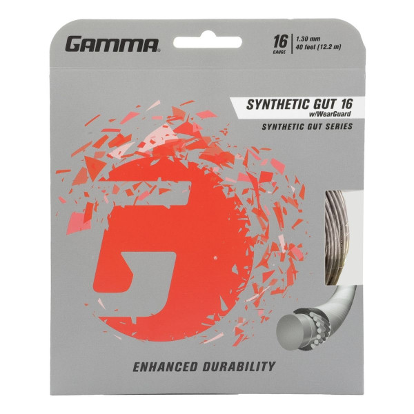 Silver Synthetic Gut Tennis String with WearGuard 16G