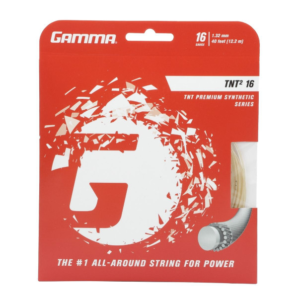 White GAMMA TNT2 16G Tennis String in packaging