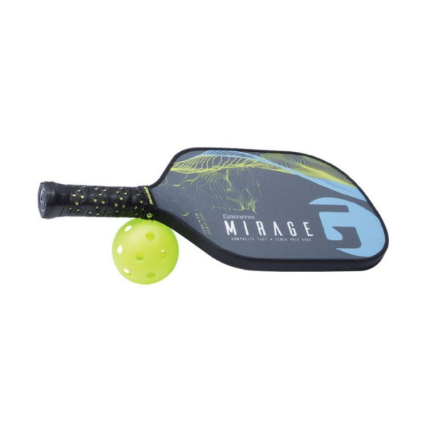 Blue GAMMA Mirage Pickleball Paddle with its handle propped up on a pickleball ball.