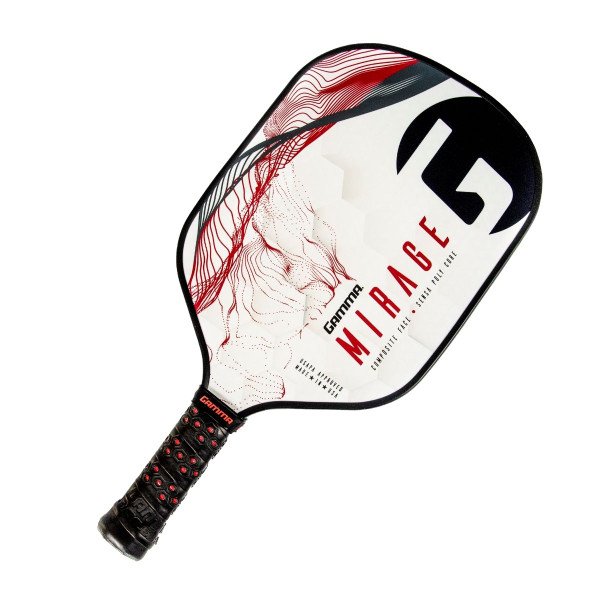 Red and Black GAMMA Mirage Pickleball Paddle tilted right
