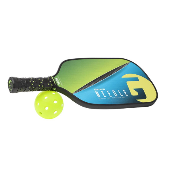 Green Elongated GAMMA Needle Pickleball Paddle with its handle propped up on a pickleball ball.