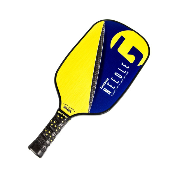 Purple Elongated GAMMA Needle Pickleball Paddle tilted right