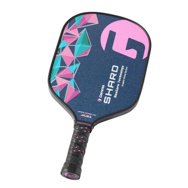 Pink GAMMA Shard NeuCore Pickleball Paddle - tilted right