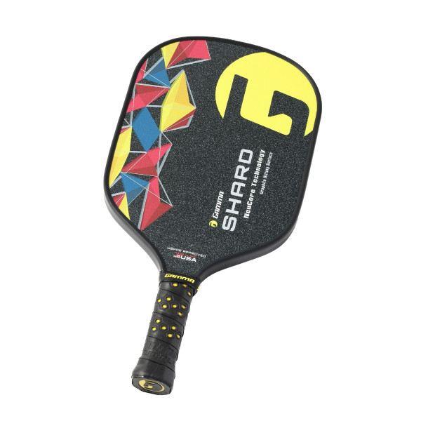 Yellow GAMMA Shard NeuCore Pickleball Paddle - tilted right