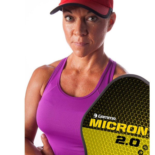 Player showing off the Yellow & Black GAMMA Micron 2.0 Pickleball Paddle
