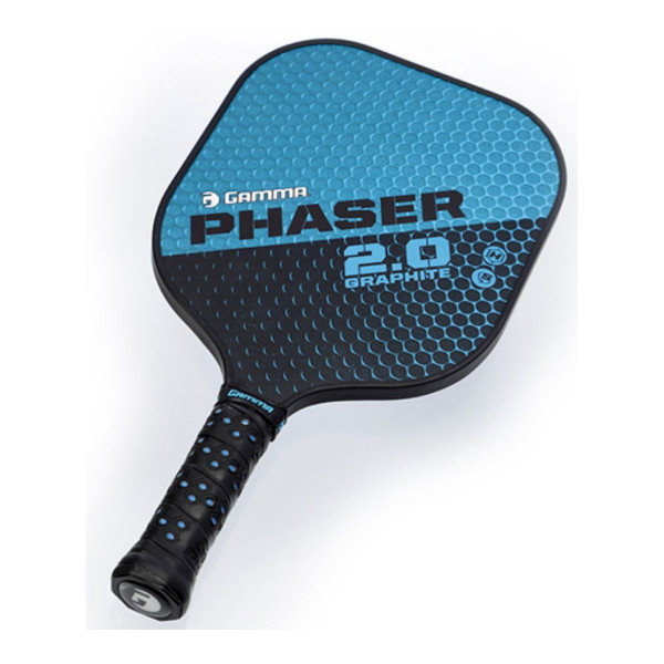 Blue and Black GAMMA Phaser 2.0 Pickleball Paddle tilted right