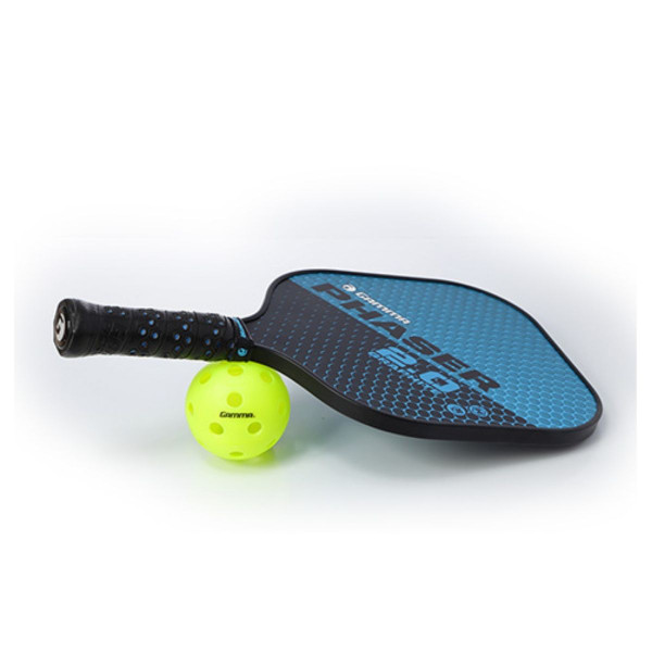 Blue and Black GAMMA Phaser 2.0 Pickleball Paddle propped up on a pickleball.
